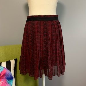 Club Monaco Red Silk Pleated Mini Skirt C3